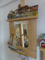 Handmade mirror with seaside village